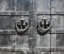 Medieval black wrought-iron gates Stock Photos