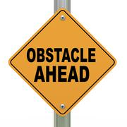 Stock Illustration of 3d road sign obstacle ahead