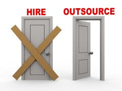 3d hire and outsource doors Stock Illustration
