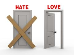 3d hate and love doors Stock Illustration