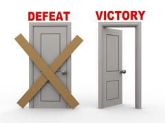 3d defeat and victory doors - stock illustration