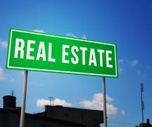 Real estate on road sign Stock Illustration