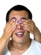 hands covering eyes - stock photo