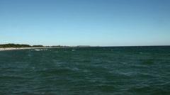 Fehmarn beach panorama skyline panning Stock Footage