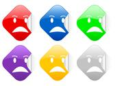 Stock Illustration of angry face square stickers