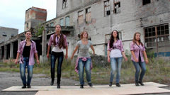 Young beautiful girls dance tap Stock Footage