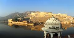 Panorama - fort and lake in jaipur india Stock Photos