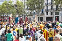 catalan way, human chain for demanding the independence of catalonia - stock photo