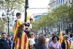 catalan way, demanding the independence of catalonia - stock photo