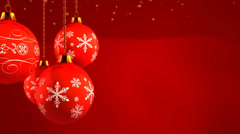Glass Baubles on red background - stock footage