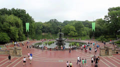 People in Bethesda Terrace and Fountain, Central Park, New York Stock Footage