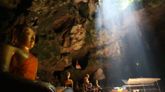 Khao Luang cave temple in cave - stock footage