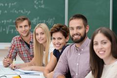 group of happy successful university students - stock photo