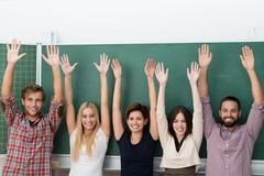 excited multiethnic group of students - stock photo
