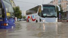European city flooded after a heavy rain Stock Footage