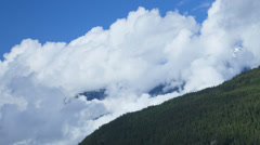 Cloudscape view mountain range forest valley, USA, Time lapse - stock footage