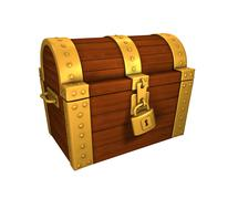 Treasure Chest golden locked, isolated on white background - stock illustration