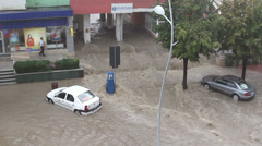 European city flooded after a heavy rain - stock footage