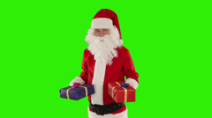 Santa Claus weighting presents, Green Screen Stock Footage
