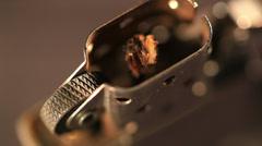 ZIPPO lighter in rotation. Macro, Editorial Stock Footage