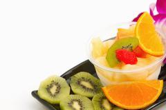 pudding fruit salad , fusion dessert - stock photo