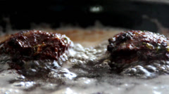 Frying meat balls 01 Stock Footage