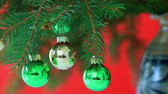 baubles on the Christmas tree - stock footage