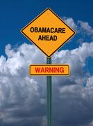 Obamacare ahead warning conceptual post Stock Photos