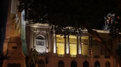 Municipal Theater of Rio de Janeiro at night Stock Footage