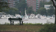 Stock Video Footage of Sailboat on the St Charles river