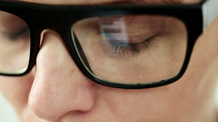 Closeup shot of female eye in glasses HD Stock Footage