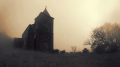 Old church timelapse in the mist and rain Stock Footage