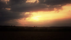 Golden Hour Sunset Over Field Stock Footage