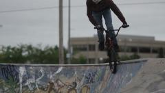 Slow Motion BMX in Skatepark Stock Footage