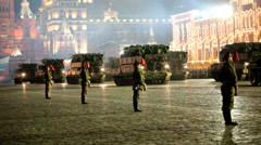 Night rehearsal of parade on Red Square - stock footage