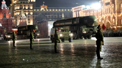 Night rehearsal of parade on Red Square Stock Footage