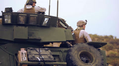 LAV-25 driving 03 - Boarding Hovercraft 03 Stock Footage