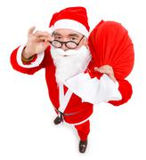 santa claus with full bag - stock photo