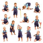 collage of little boy playing with tools - stock photo