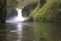 punch bowl falls waterfall columbia river valley oregon northwest - stock photo