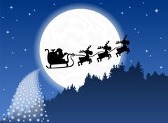 santa claus and his reindeer sleigh backlit by the full moon - stock illustration