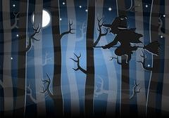 Witch flying at night through the forest Stock Illustration