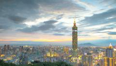 Taipei, Taiwan evening skyline (time lapse) Stock Footage