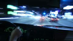 Driving POV Timelapse 16 Drivers View Sunset Strip Night - stock footage
