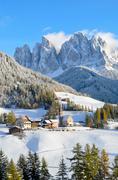 santa maddalena in winter - stock photo