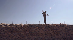 Soldier Launching Drone - 01 Stock Footage