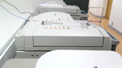 Office man using paper copy machine Stock Footage
