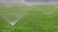 Irrigating grass with water sprinkler - stock footage