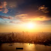 Shanghai pudong skyline at sunset Kuvituskuvat