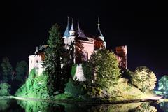 Bojnice castle, slovakia at night. Stock Photos